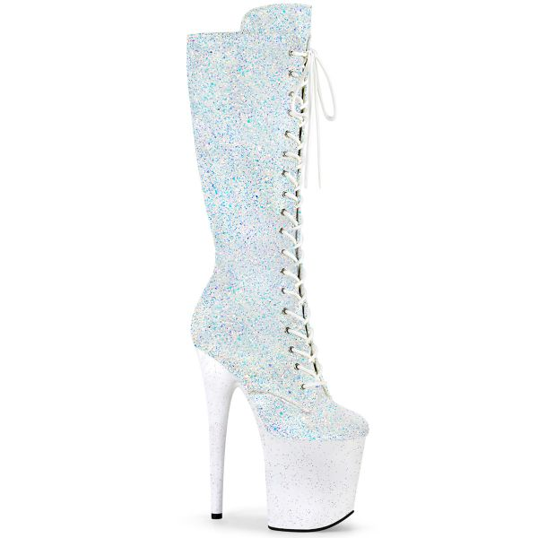 Product image of Pleaser FLAMINGO-2020MG Black Multicolour Glitter/Black 8� Heel 4 inch (20 cm) Platform Lace-Up Front Knee Boot Side Zip
