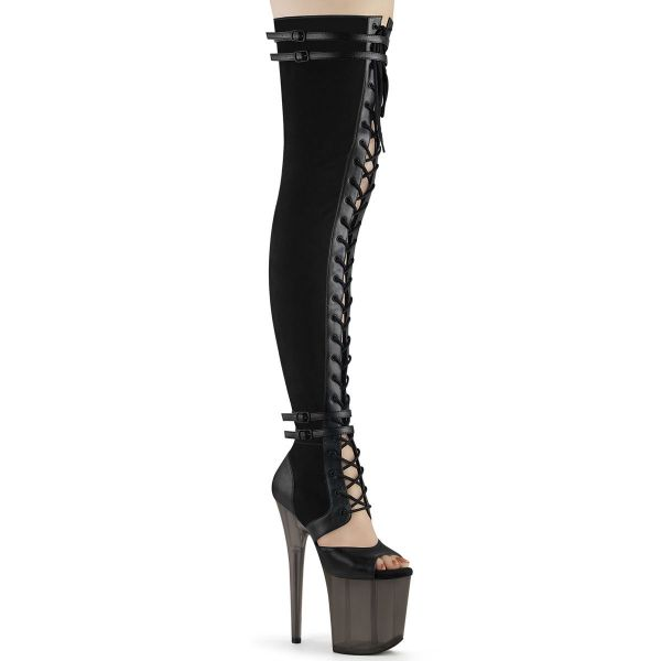Product image of Pleaser FLAMINGO-3027 Black Faux Suede-Faux Leather/Frosted Black 8 inch (20 cm) Heel 4 inch (10 cm) Platform Lace-Up Front Thigh Side Zip