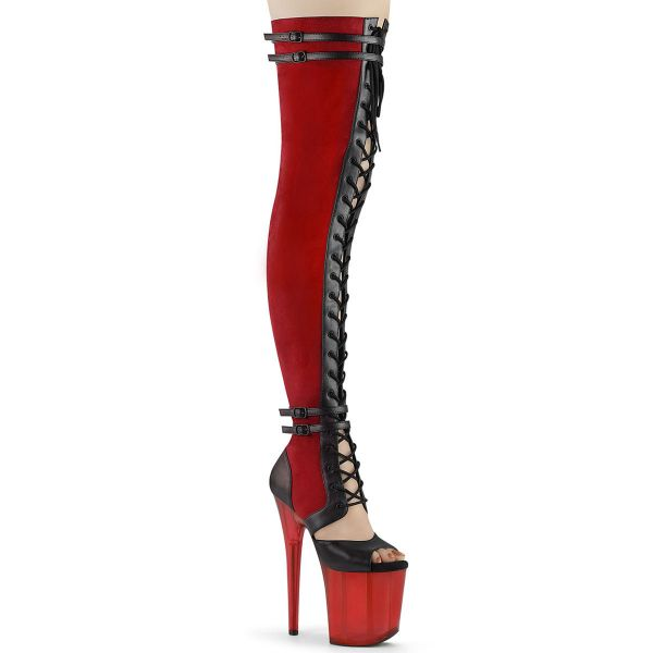 Product image of Pleaser FLAMINGO-3027 Red Faux Suede-Black Faux Leather/Frosted Red 8 inch (20 cm) Heel 4 inch (10 cm) Platform Lace-Up Front Thigh Side Zip