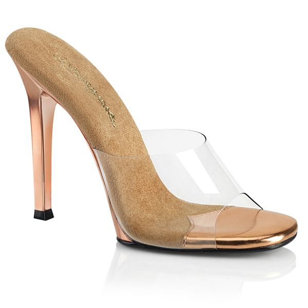 Product image of Fabulicious GALA-01 Clear-Rose Gold/Rose Gold Chrome 4 1/2 inch (11.4 cm) Heel Slide Slide Mule Shoes