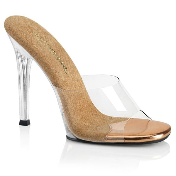 Product image of Fabulicious GALA-01 Clear-Rose Gold/Clear 4 1/2 inch (11.4 cm) Heel Slide Slide Mule Shoes