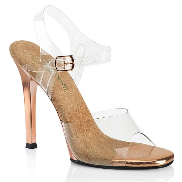 Product image of Fabulicious GALA-08 Clear-Rose Gold/Rose Gold Chrome 4 1/2 inch (11.4 cm) Heel Ankle Strap Sandal Shoes