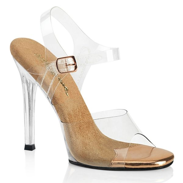 Product image of Fabulicious GALA-08 Clear-Rose Gold/Clear 4 1/2 inch (11.4 cm) Heel Ankle Strap Sandal Shoes