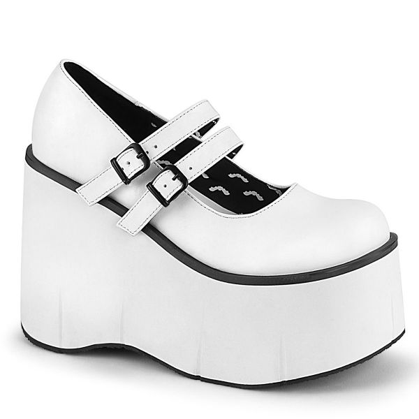 Product image of Demonia KERA-08 White Vegan Faux Leather 4 1/2 inch (11.4 cm) Platform Maryjane