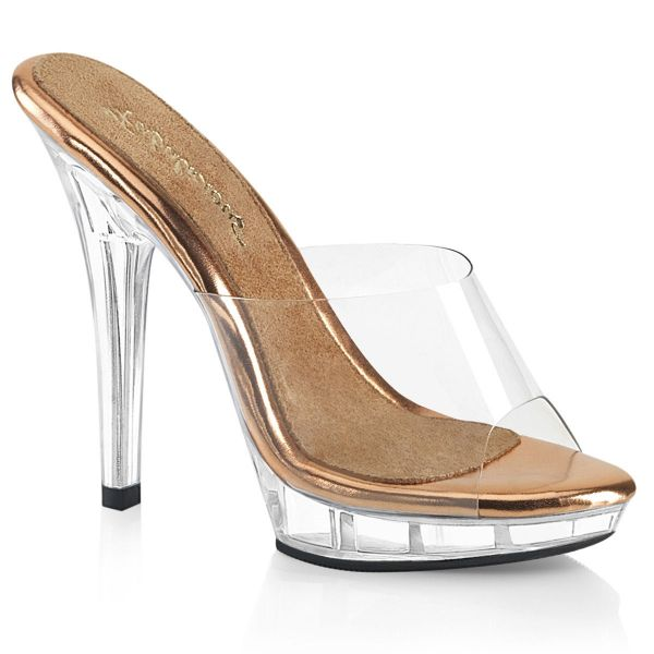 Product image of Fabulicious LIP-101 Clear-Rose Gold/Clear 5 inch (12.7 cm) Heel 3/4 inch (1.9 cm) Platform Slide Slide Mule Shoes