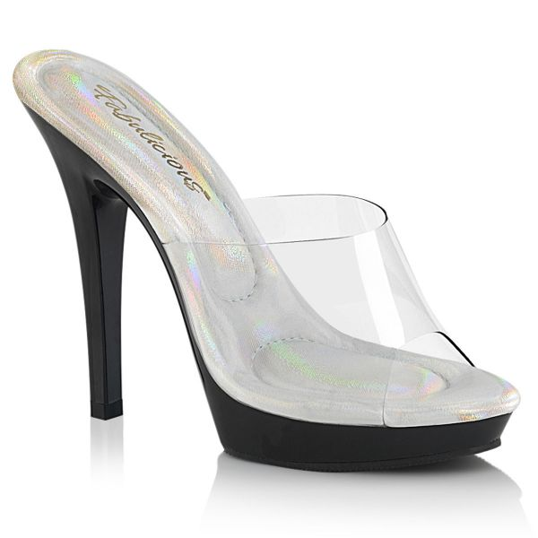 Product image of Fabulicious LIP-101 Clear-Silver/Black 5 inch (12.7 cm) Heel 3/4 inch (1.9 cm) Platform Slide Slide Mule Shoes