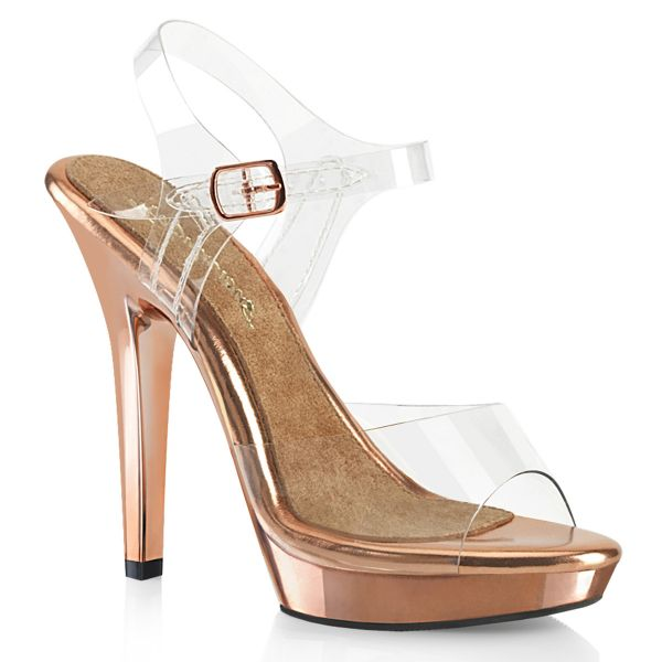 Product image of Fabulicious LIP-108 Clear-Rose Gold/Rose Gold Chrome 5 inch (12.7 cm) Heel 3/4 inch (1.9 cm) Platform Ankle Strap Sandal Shoes