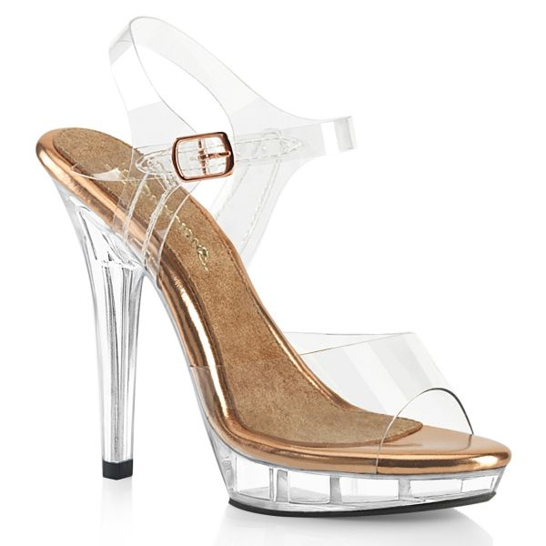 Product image of Fabulicious LIP-108 Clear-Rose Gold/Clear 5 inch (12.7 cm) Heel 3/4 inch (1.9 cm) Platform Ankle Strap Sandal Shoes