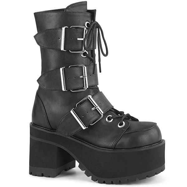 Product image of Demonia RANGER-308 Black Vegan Faux Leather 3 3/4 inch (9.5 cm) Heel 2 1/4 inch Platform Lace-Up Ankle Boot Side Zip