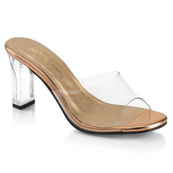 Product image of Fabulicious ROMANCE-301 Clear-Rose Gold/Clear 3 1/4 inch (8.3 cm) Square Heel Slide Slide Mule Shoes