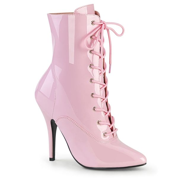 Product image of Pleaser SEDUCE-1020 Hot Pink Patent 5 inch (12.7 cm) Heel Lace-Up Front Ankle Boot Side Zip