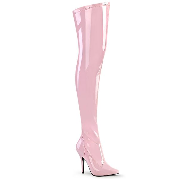 Product image of Pleaser SEDUCE-3000 Baby Pink Stretch Patent 5 inch (12.7 cm) Heel Plain Stretch Thigh Boot Side Zip Thigh High Boot