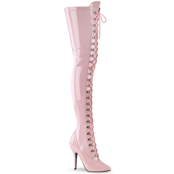 Product image of Pleaser SEDUCE-3024 Baby Pink Patent 5 inch (12.7 cm) Heel D-Ring Stretch Thigh Boot Side Zip Thigh High Boot