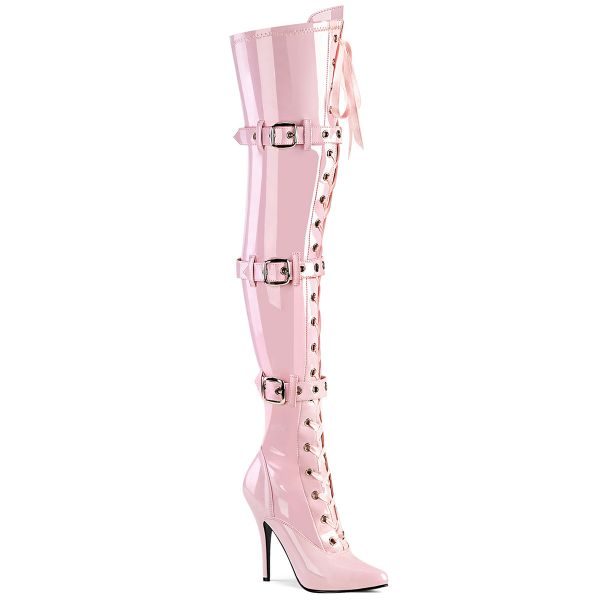 Product image of Pleaser SEDUCE-3028 Baby Pink Stretch Patent 5 inch (12.7 cm) Heel Lace-Up Triple Buckles Straps Thigh Boot Side Zip Thigh High Boot