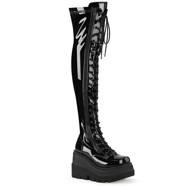 Product image of Demonia SHAKER-374 Black Stretch Patent 4 1/2 inch Wedge Platform Lace-Up Thigh-High Boot Outside Zip
