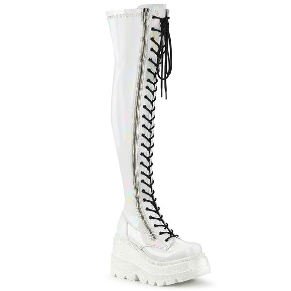Product image of Demonia SHAKER-374 White Holographic Stretch Patent 4 1/2 inch Wedge Platform Lace-Up Thigh-High Boot Outside Zip