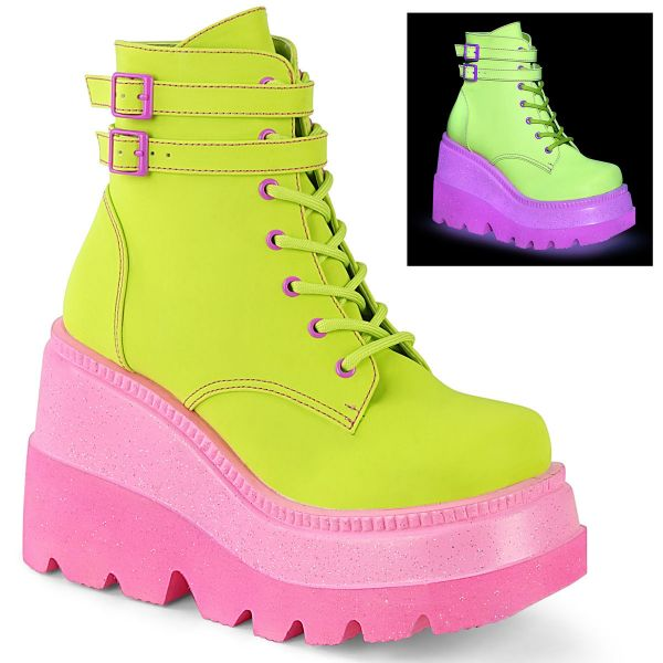 Product image of Demonia SHAKER-52 Lime Reflective Vegan Faux Leather/Pink 4 1/2 inch (11.4 cm) Wedge Platform Ankle Boot Side Zip