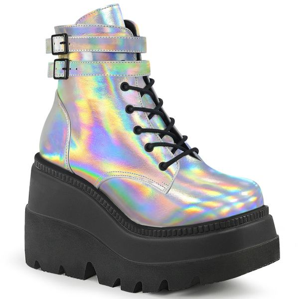 Product image of Demonia SHAKER-52 Silver Holographic 4 1/2 inch Wedge Platform Ankle Boot Side Zip