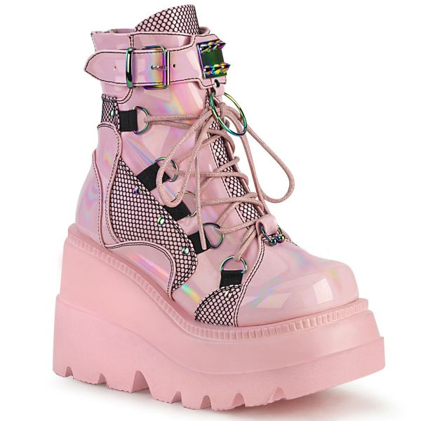 Product image of Demonia SHAKER-60 Baby Pink Holographic 4 1/2 inch Wedge Platform Lace-Up Ankle Boot Back Metal Zip