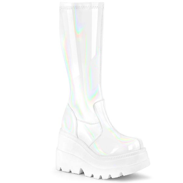 Product image of Demonia SHAKER-65 White Holographic 4 1/2 inch Wedge Platform Stretch Knee High Boot Back Zip