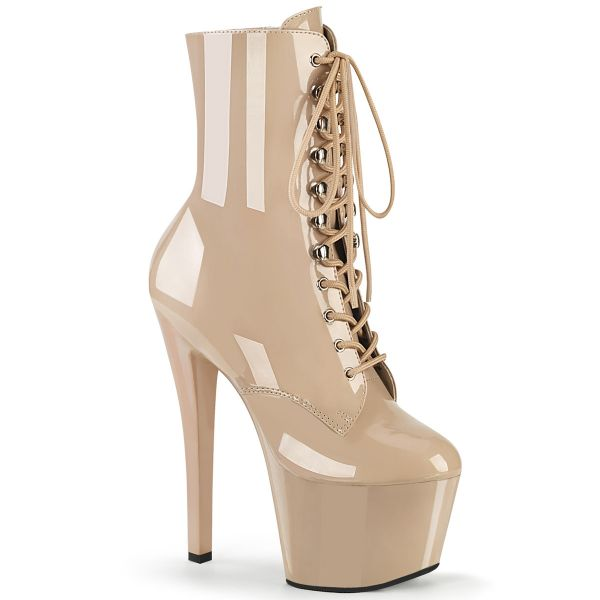 Product image of Pleaser SKY-1020 Nude Patent/Nude 7 inch (17.8 cm) Heel 2 3/4 inch (7 cm) Platform Lace-Up Front Ankle Boot Side Zip