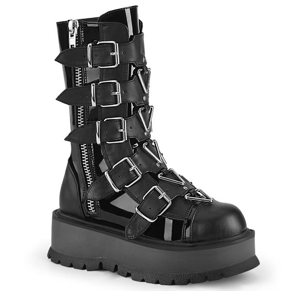 Product image of Demonia SLACKER-160 Black Patent-Vegan Faux Leather 2 inch Platform Mid-Calf Boot With  5 Buckles Straps Outside Zip