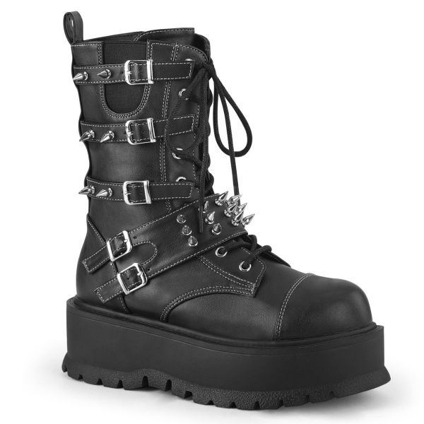 Product image of Demonia SLACKER-165 Black Vegan Faux Leather 2 inch Platform Lace-Up Mid-Calf Boot Side Zip