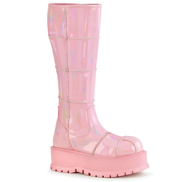 Product image of Demonia SLACKER-230 Baby Pink Holographic Patent 2 inch (5.1 cm) Platform Knee High Boot Side Zip