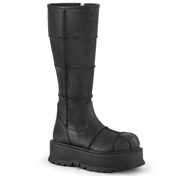 Product image of Demonia SLACKER-230 Black Vegan Faux Leather 2 inch Platform Knee High Boot Side Zip