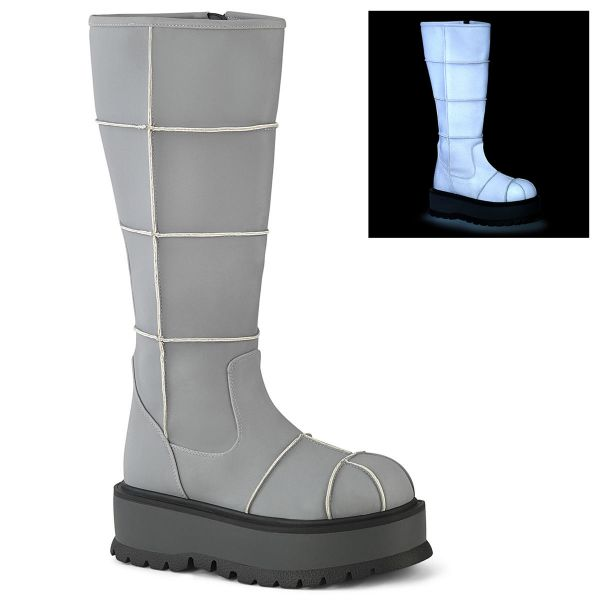 Product image of Demonia SLACKER-230 Grey Reflective Vegan Faux Leather 2 inch (5.1 cm) Platform Knee High Boot Side Zip