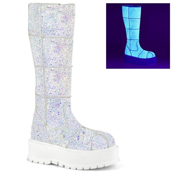Product image of Demonia SLACKER-230 White Multicolour Glitter 2 inch (5.1 cm) Platform Knee High Boot Side Zip