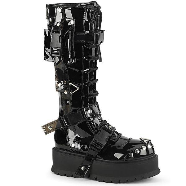 Product image of Demonia SLACKER-260 Black Patent 2 inch (5.1 cm) Platform Lace-Up Knee High Boot Back Metal Zip