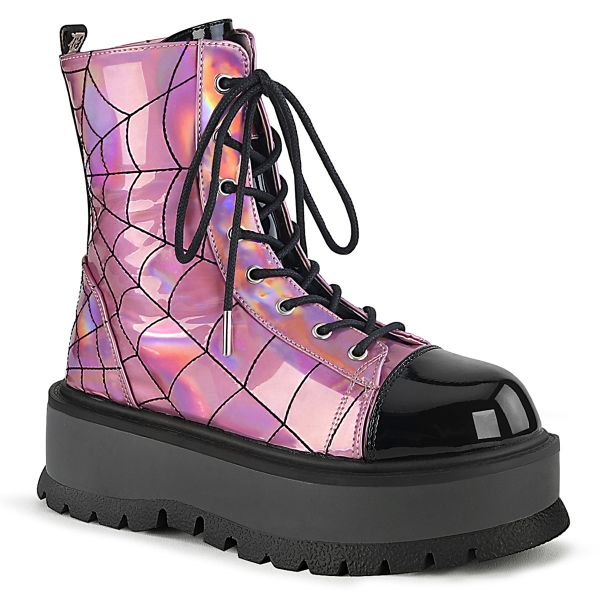 Product image of Demonia SLACKER-88 Pink Holographic-Black Patent 2 inch (5.1 cm) Platform Lace-Up Ankle Boot