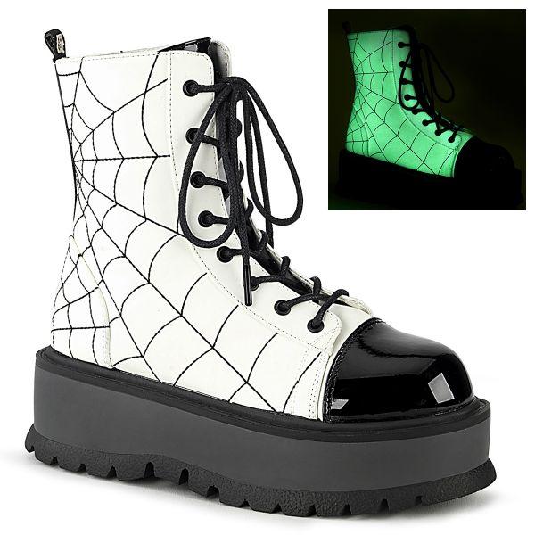 Product image of Demonia SLACKER-88 White Glow Vegan Faux Leather-Black Patent 2 inch (5.1 cm) Platform Lace-Up Ankle Boot