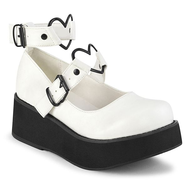 Product image of Demonia SPRITE-02 White Vegan Faux Leather 2 1/4 inch Platform Mary Jane With  Hearts O-Ring & Studs Detail