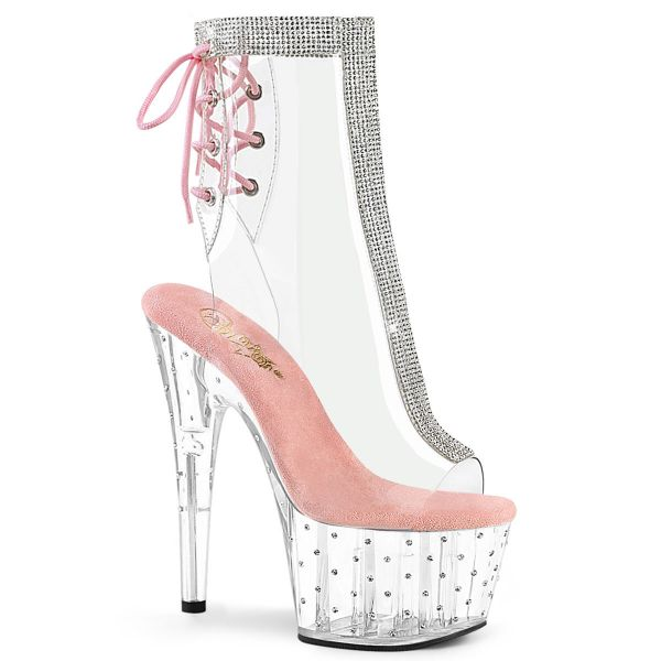 Product image of Pleaser STARDUST-1018C-2RS Clear-Baby Pink/Clear 7 inch (17.8 cm) Heel 2 3/4 inch (7 cm) Platform Open Toe/Heel Ankle Boot With Rhinestones