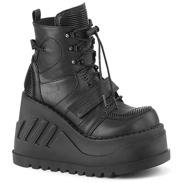 Product image of Demonia STOMP-13 Black Vegan Faux Leather 4 3/4 inch Wedge Platform Lace-Up Ankle Boot With  Hook & Loop Straps
