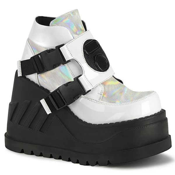 Product image of Demonia STOMP-15 White Patent-Multicolour 4 3/4 inch Wedge Platform Bootie With Snap Buckles Detail