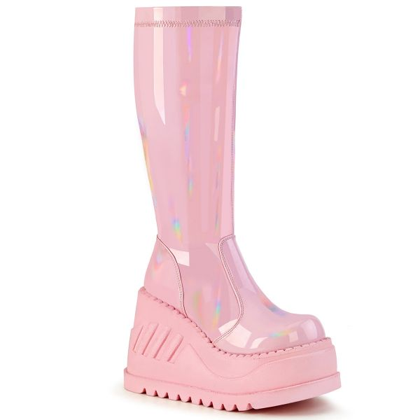 Product image of Demonia STOMP-200 Baby Pink Holographic Stretch Patent 4 3/4 inch Wedge Platform Stretch Knee High Boot Back Zip