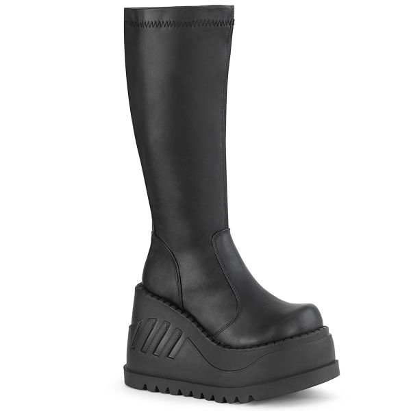 Product image of Demonia STOMP-200 Black Stretch Vegan Faux Leather 4 3/4 inch Wedge Platform Stretch Knee High Boot Back Zip