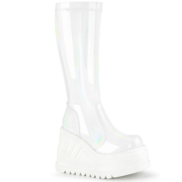 Product image of Demonia STOMP-200 White Holographic Stretch Patent 4 3/4 inch Wedge Platform Stretch Knee High Boot Back Zip