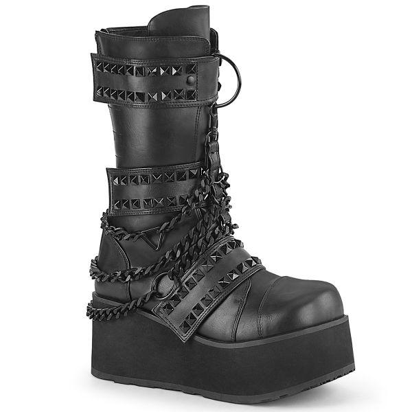 Product image of Demonia TRASHVILLE-138 Black Vegan Faux Leather 3 1/4 inch (8.3 cm) Platform 3 Hook And Loop Straps Mid-Calf Boot Back Zip