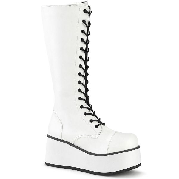 Product image of Demonia TRASHVILLE-502 White Vegan Faux Leather 3 1/4 inch Platform Lace-Up Knee High Boots Side Zip