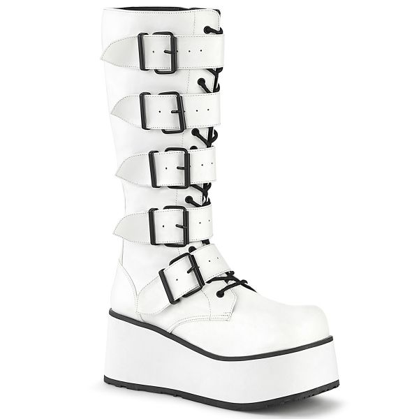 Product image of Demonia TRASHVILLE-518 White Vegan Faux Leather 3 1/4 inch Platform Lace-Up Knee High Boots Side Zip