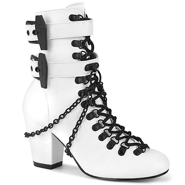 Product image of Demonia VIVIKA-128 White Vegan Faux Leather 3 inch (7.6 cm) Block Heel Round Toe D-Ring Lace-Up Ankle Boot Size Zip