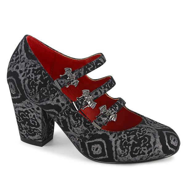 Product image of Demonia VIVIKA-38 Black-Silver Faux Faux Suede Faux Leather 3 inch (7.6 cm) Block Heel Round Toe Maryjane