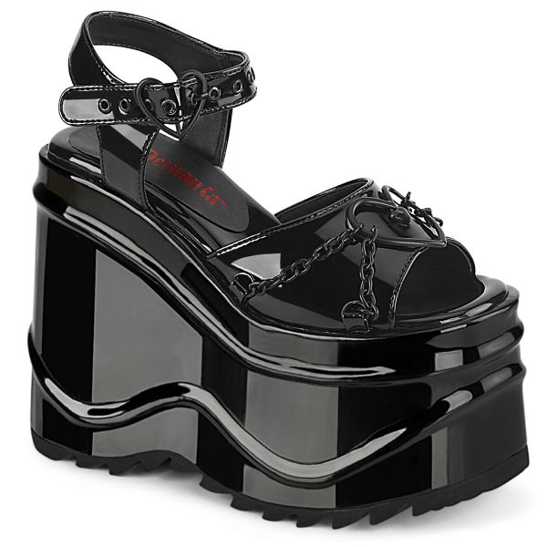 Product image of Demonia WAVE-09 Black Patent 6 inch (15.2 cm) Wedge Platform Ankle Strap Sandal Shoes