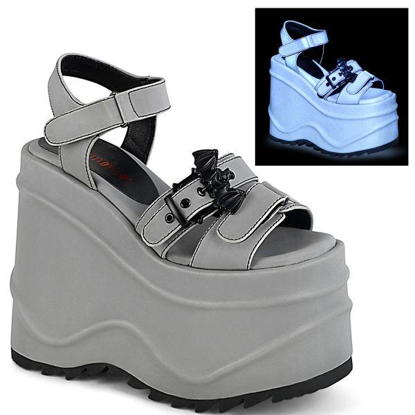 Product image of Demonia WAVE-13 Grey Reflective Vegan Faux Leather 6 inch (15.2 cm) Wedge Platform Hook & Loop Ankle Strap Sandal