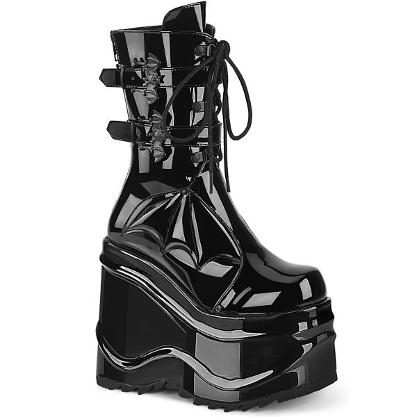 Product image of Demonia WAVE-150 Black Patent 6 inch (15.2 cm) Wedge Platform Lace-Up Mid-Calf Boot Back Metal Zip