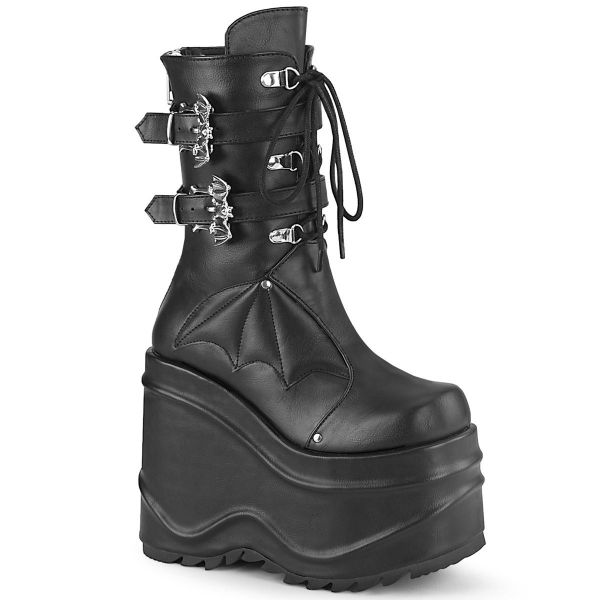Product image of Demonia WAVE-150 Black Vegan Faux Leather 6 inch (15.2 cm) Wedge Platform Lace-Up Mid-Calf Boot Back Metal Zip